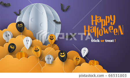 Happy Halloween banner background with clouds and pumpkins in paper cut style. Full moon in the sky, spiders web, skull, ghost and flying bats. Vector Illustration 66531803