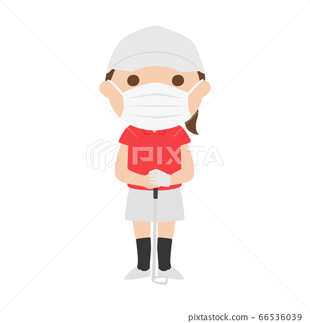 여름에 마스크를하고 골프를하는 여성의 일러스트. 66536039