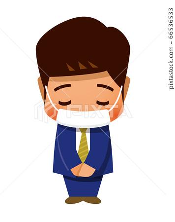 戴著面具和鞠躬的商務人士 66536533