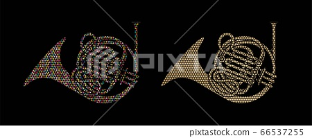 French Horn instrument cartoon music graphic vector 66537255