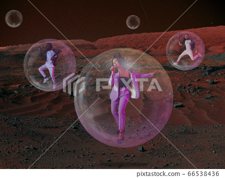 Imagine people live on Mars. Close up landscape of an abandoned planet, beauty of life on Mars. 66538436