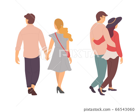 Couples Walking and Holding Hands, Man and Woman 66543060