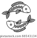 Astrological Pisces Sign, Symbol of Two Fishes 66543134