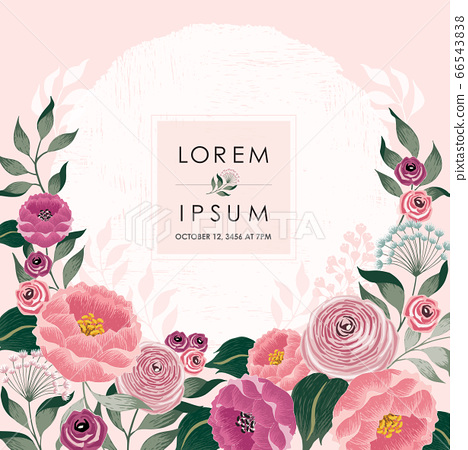 Vector illustration of a beautiful floral frame with spring flowers. Design for banner, poster, card, invitation and scrapbook 66543838
