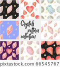 Seamless pattern of colorful jewels gemstones and crystals on black background. 66545767