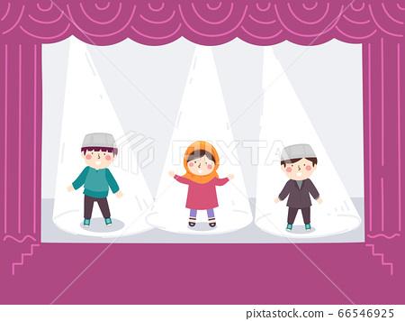 Kids Muslim Stage Theater Spotlight Illustration 66546925