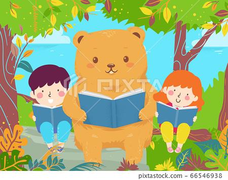 Kids Bear Read Book Trees Illustration 66546938