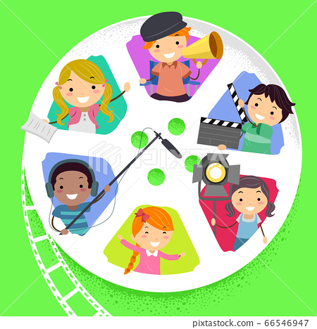Stickman Kids Film Production Reel Illustration 66546947