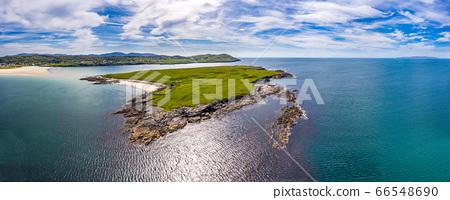 Aerial view of Inishkeel Island by Portnoo next to the the awarded Narin Beach in County Donegal, Ireland 66548690