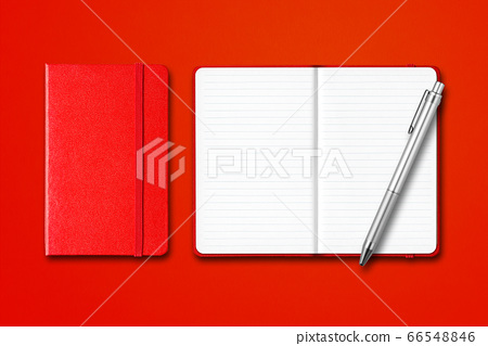 Red closed and open notebooks with a pen isolated 66548846