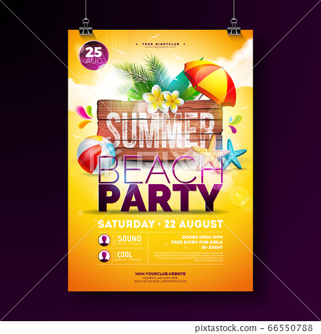 Vector Summer Beach Party Flyer Design with Flower, Palm Leaves, Beach Ball and Starfish on Yellow Background. Summer Holiday Illustration with Vintage Wood Board, Tropical Plants and Cloudy Sky for 66550788