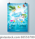 Summer Pool Party Poster Design Template with Palm Leaves, Water and Beach Ball on Blue Underwater Ocean Background. Vector Holiday Illustration for Banner, Flyer, Invitation, Poster. 66550789