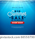 Big Summer Sale Design with Holiday Typography Letter and Sunrise on Underwater Blue Ocean Background. Seasonal Vector Illustration for Coupon, Voucher, Banner, Flyer, Promotional Poster, Invitation 66550790