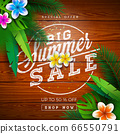 Big Summer Sale Design with Typography Letter and Exotic Palm Leaves on Vintage Wood Background. Tropical Vector Special Offer Illustration with Coupon, Voucher, Banner, Flyer, Promotional Poster 66550791