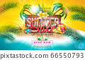 Summer Sale Design with Flower, Exotic Palm Leaves and Typography Letter on Vintage Wood Board. Tropical Vector Special Offer Illustration on Ocean Landscape Background for Coupon, Voucher, Banner 66550793