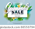 Summer Sale Design with Flower and Exotic Palm Leaves on Blue Background. Tropical Vector Special Offer Illustration with Typography Letter for Coupon, Voucher, Banner, Flyer, Promotional Poster 66550794