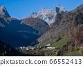 Autumn morning alpine Dolomites mountain scene, 66552413