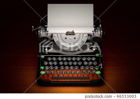 Retro Typewriter on dark wooden table 66553003