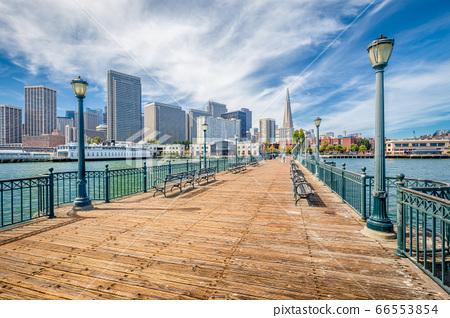 Historic Pier 7 with San Francisco financial district, California, USA 66553854
