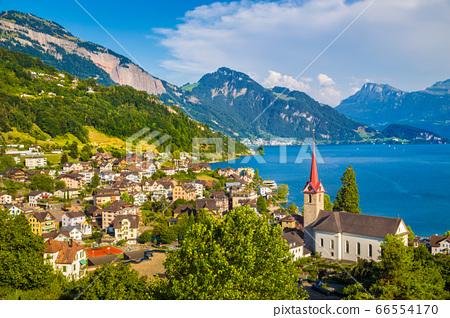 Town of Weggis at Lake Lucerne, Switzerland 66554170
