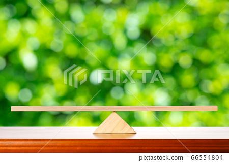 나무 시소와 녹색 배경 66554804
