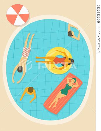 人們在游泳池裡游泳 66555559