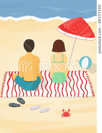 바닷가에서 일광욕 하는 사람들 66555560