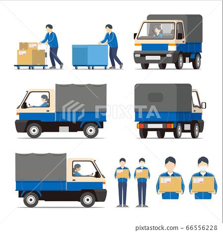 快遞,車輛,卡車,多莉,員工,套裝 66556228
