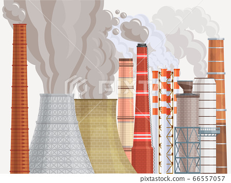 Pollution environmental contamination factory chimney flat vector illustration. Dirty air factory area damage to ecological surrounding. 66557057