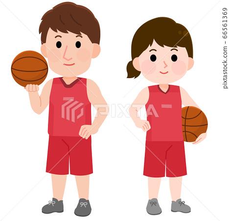 농구를하는 남성 여성 서 포즈 일러스트 66561369