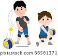 男人和女人打排球的插图 66561371