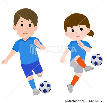 男人和女人踢足球的插圖 66561375