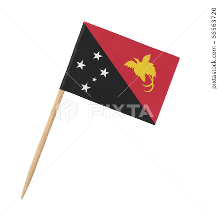 Small paper flag of Papua New Guinea on wooden 66563720