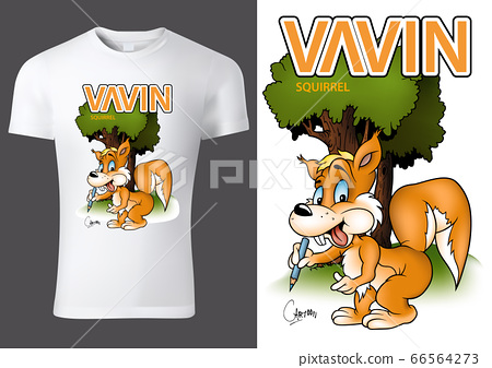 T-shirt Design with Cartoon Squirrel 66564273