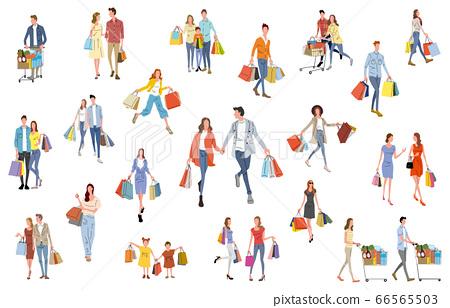 圖庫插圖:人們喜歡購物 66565503