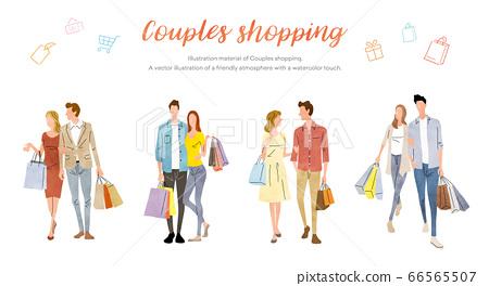 圖庫插圖:購物情侶購物 66565507