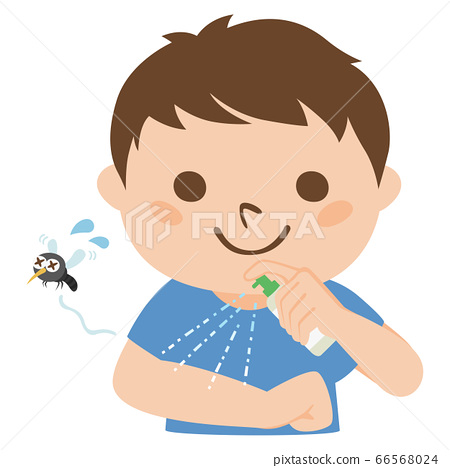 防止蚊咬的人噴灑的驅蚊劑的例證。 66568024