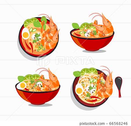 Tom Yum Kung Thai spicy soup vector , thai food 66568246