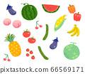 夏季蔬菜和水果的插圖 66569171