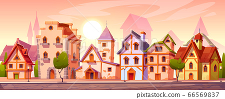 Medieval town street with old european buildings 66569837