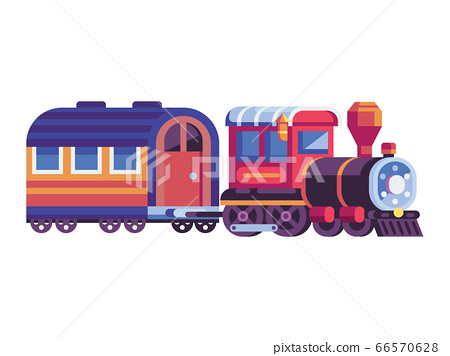 Retro Steam Train with Wagon in Flat 66570628