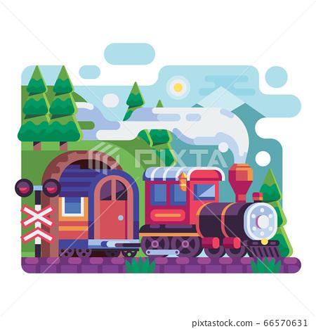 Old Retro Locomotive with Wagon on Mountains 66570631