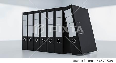 document folders standing on white desk in office loft 3d render illustration back lighting 66571589