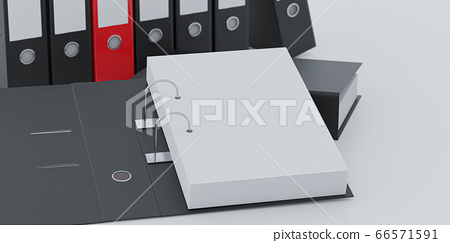 document folders standing on white desk in office loft with copy space and empty sheets for your content 3d render illustration back lighting 66571591