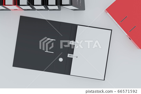 document folders standing on white desk in office loft with copy space and empty sheets for your content 3d render illustration back lighting 66571592