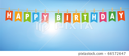 happy birthday party flags banner on blue sunny sky 66572647