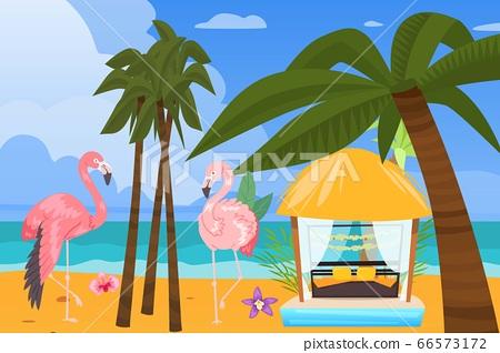 Beach ocean coast, summer resort background, vector illustration. Tropical travel at vacation, outdoor holiday in gazebo 66573172