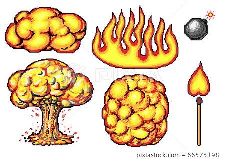 Nuclear explosion. Pixel art 8 bit fire objects. Mushroom cloud. Game icons set. Comic boom flame 66573198