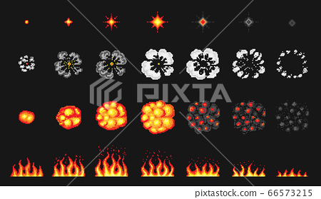 Pixel art 8 bit fire objects. Nuclear explosion. Game icons set. Comic boom flame effects. Bang 66573215