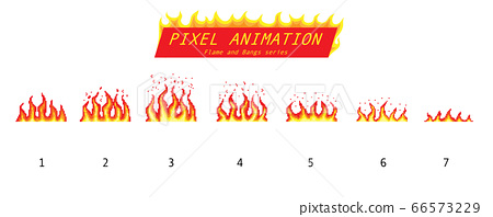 Pixel art 8 bit fire objects. Game icons set. Comic boom flame effects. Animation Process steps 66573229